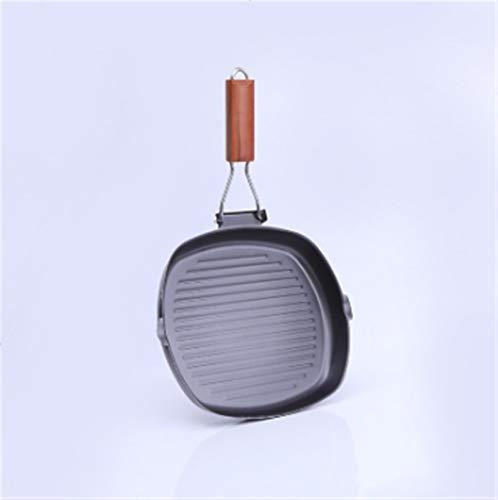 Freying pan no palo Sartén Filete de hierro fundido de hierro sin palanca de plancha cuadrada profunda con asas de madera plegables