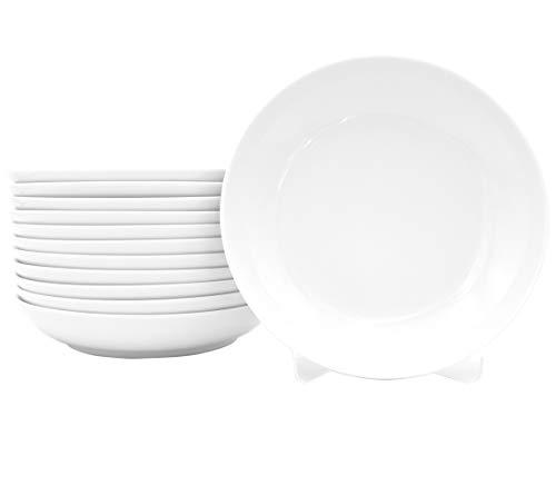 12 Stück Tiefe Suppenteller als Coupteller im Set aus echtem Porzellan Ø 200 mm weiß Teller auch zum Bemalen bestens geeignet Tafelgeschirr für Gastronomie und Haushalt