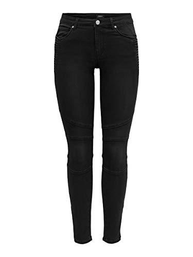 ONLY Damen ONLROYAL Life REG SK BIKR Zip ANK BB PIM Jeans, Black, M/32