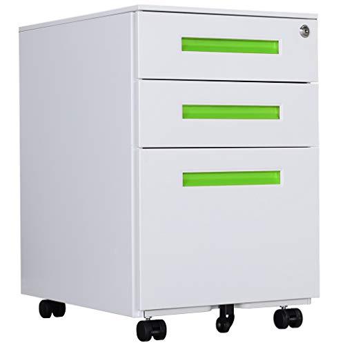 Aktenschränke, Büro-Rollcontainer,Rollcontainer, inkl. 3 Schübe Bürocontainer mit Anti-umkippen-mechanismus für A4, Mobilen, Abschließbar ;39cm B x 50cm L x 60cm H, JLB021-G
