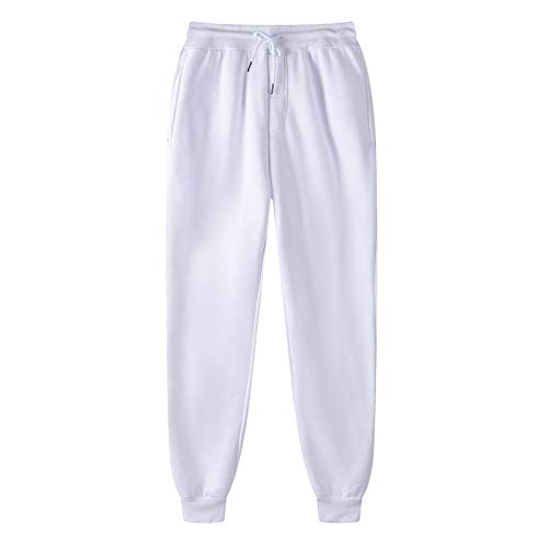 OutTop Men's Joggers Drawstring Elastic Waist Sweatpants Casual Workout Sports Pants Comfy Trousers Tracksuits Bottoms (White, XL)