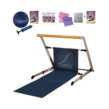 Fluidity Barre System with Bonus Seat & Thigh DVD, Silver/Blue