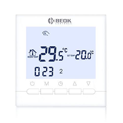Beok BOT-313W 3A Termostato Programable Digital de Calefacción por Calderas de Gas,con Pantalla LCD Controlador de Temperatura de Luz de Fondo Blanco Funciona con Pilas