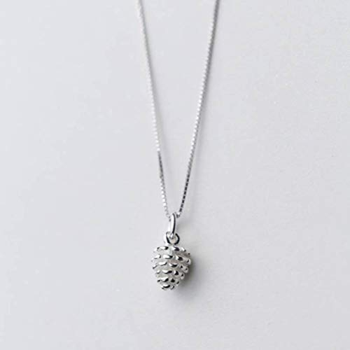 TYERY Collar Colgante de Plata S925, Collar de Temperamento de Moda con Colgante de Cono de Pino Simple Personalizado para Mujer.colgante individual de plata s925