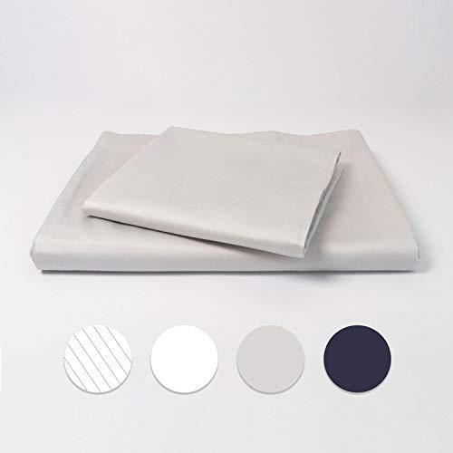 cloudlinen Bettwäsche Set aus 100% Extra-Langstapeliger Premium Baumwolle - 155x220 cm (Bettbezug) + 80x80 cm (Kissen) - grau einfarbig/unifarben - kuscheliger, Warmer und weicher Mako Satin