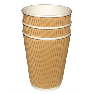 WIN-WARE 40 x Disposable Hot drinks Cups / Mugs. Suitable for Teas, Coffees , Espresso and all Hot Beverages. Insulated Ripple Wall Cups for parties, BBQs, Picnics and Events (Capacity: 8 oz)