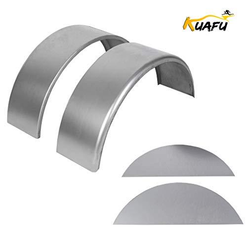 KUAFU Steel Round Trailer Fenders Single Axle and Fender Backs 2 Pcs Fits 14