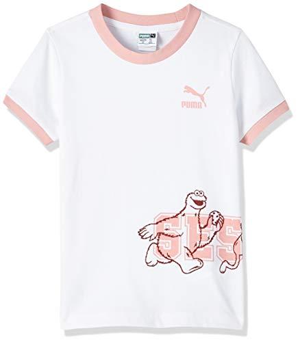 PUMA Mädchen T-Shirt Sesame Street G, Puma White, 140, 580379