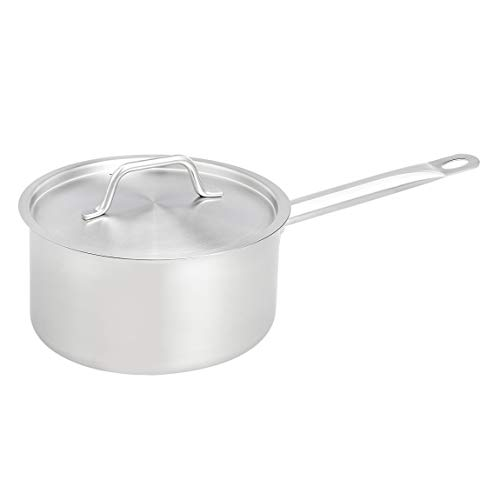 AmazonCommercial 4 Qt. Stainless Steel Aluminum-Clad Straight Sided Sauce Pan with Cover