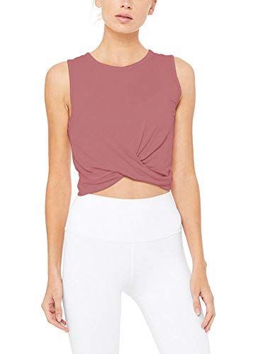 Bestisun Workout Tank Tops Yoga Sports Crop Tops Summer Activewear Clothes Athletic Shirts Normally Wear Indian Red S