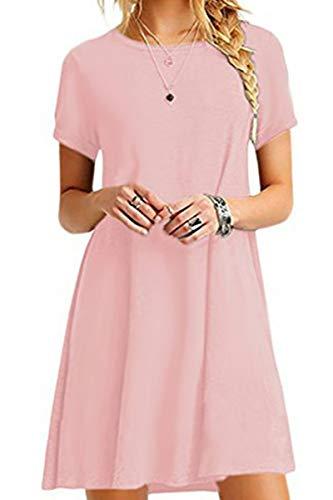 YMING YMING Damen Lockeres Kleid Lose Blusenkeid Kurzarm Lange Shirt Casual Strickkleid Midi Rosa L/DE 40