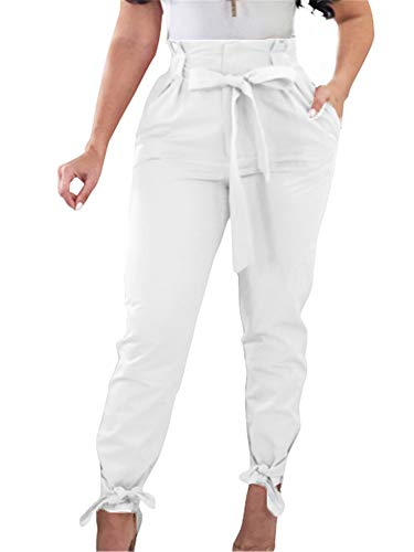 GOBLES Women Solid Casual Work Trousers High Waist Ruffle Bow Tie Pants White