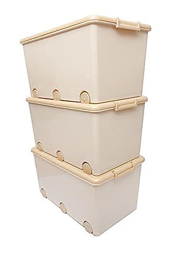 LAPSI® Spielzeugkiste, Aufbewahrungsbox mit 6 Rollen mit Deckel auf Rädern Beige Teddybär - 6