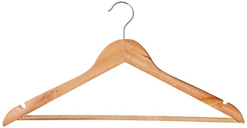 Inspired Living WOODEN COAT & SUIT HEAVY DUTY HANGERS-WOOD, (10 Pack) Flathead, NATURAL