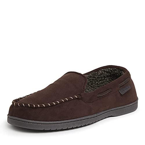 Dearfoams Men's Microsuede Moccasin with Whipstitch Slipper, Coffee, Medium