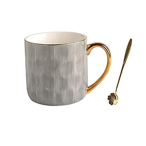HCFSUK Taza de Oficina Taza de café de cerámica Grande Taza de té para Oficina y hogar 11 oz Apta para lavavajillas y microondas, 1 Paquete con Taza de Cuchara de café (Color: A)