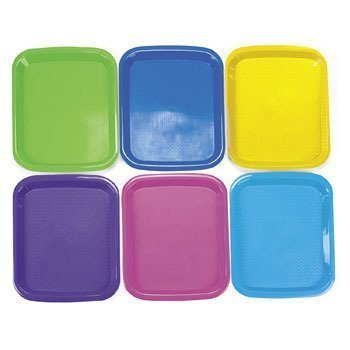 """6 Plastic Cool Craft Art supplies Artist Painting Mixing Trays Large (Size: 14 1/2"""" x 10 3/4"""")- Purple Yellow, Blue, Pink Green"""