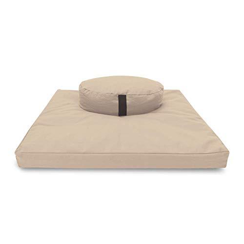 "Bean Products Natural Round 14"" Zafu + Zabuton Meditation Cushion Set - 100% Cotton - Organic Buckwheat Fill - Made in USA"
