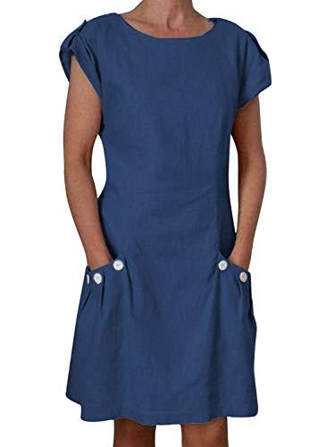Yidarton Damen Kleider Leinen Strandkleider Elegant Casual A-Linie Kleider Ärmellos Sommerkleider,Blau,XL