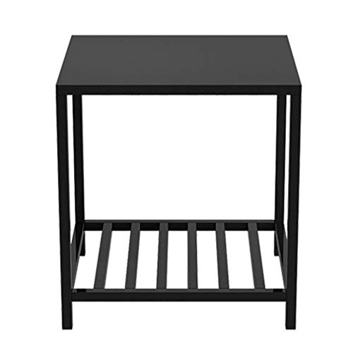 Metalen salontafel bijzettafel, slaapkamer kast nachtkastje bank bijzettafel dubbele rackZHFZD, 40 * 35 * 50cm, Zwart