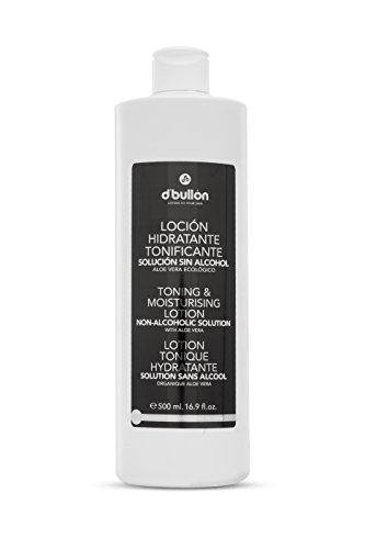 D´Bullon Loción facial Hidratante Tonificante, Solución facial Sin Alcohol con Aloe Vera Ecológico. Tónico Facial. Tonifica y refresca después de la limpieza facial. Vegano- 500 ml