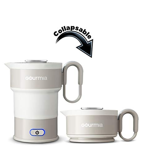 Gourmia GK348 Electric Collapsible Travel Kettle  Foldable amp Portable  Fast Boil  Easy Storage  Water Boiler For Coffee Tea amp More  Food Grade Silicone  Boil Dry Protection 20 oz capacity  Grey