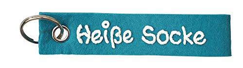 Schlüsselanhänger türkis aus Filz Spruch Heiße Socke personalisiert - Geschenk mit Wunschbeschriftung - Filzband mit Name