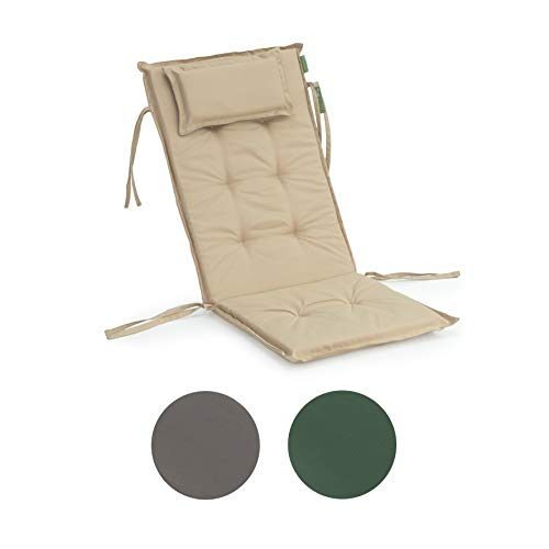Gardenista Garden Premium High Back Chair Seat Pad | Secure Ties | Foam Filled | Water Resistant | Foldable for Easy Storage (Stone)