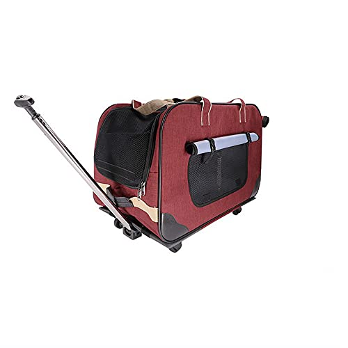 PETEMOO Removable Wheeled Pet Carrier, Rolling Pet Carrier,Wheel Around Luggage Bag for...