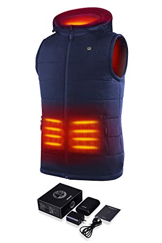 Sailwind Men's Lightweight Heated Vest Smart Electric Rechargeable Jacket With Removable Hood...