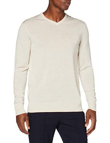 Amazon-Marke: MERAKI Merino Pullover Herren mit V-Ausschnitt, Beige (Haferflocken), XXL, Label: XXL