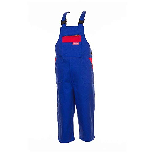 Größe 134/140 Kinder Planam Junior Latzhose BW kornblau rot Modell 0164