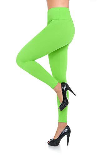 FUTURO FASHION - Damen Leggings mit hohem Bund - hochwertig - weiche Baumwolle - auch in Übergrößen - LWP - Limettengrün - 42 Classic