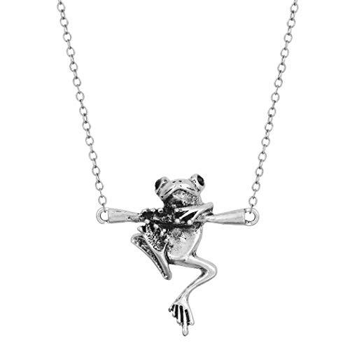 Chandler Vintage Frosch Tier Anhänger Halskette für Frauen Männer Einfache Silber Süße Patina Schlüsselbein Kette Geburtstagsgeschenk Türkische Halskette