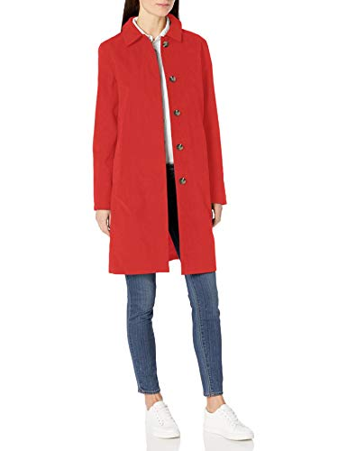 Amazon Essentials Water-Resistant Trench Coat Raincoats, Rojo, XXL