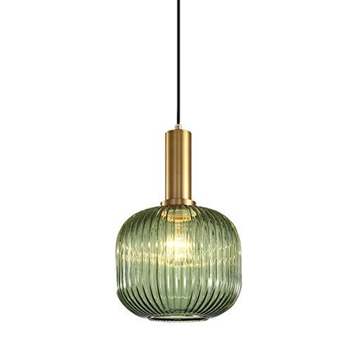 YYM Glas Pendelleuchte Schatten Moderne Grüne Decke Lampenschirm Glas Leuchte Schmiedeeisen Kronleuchter Leuchte Edison E27 Hängeleuchte Droplight 20 cm