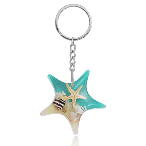 FM FM42 Turquoise Glow in the Dark Real Starfish Seashell Star Key Ring Keychains KC1023