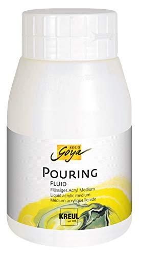 Kreul Solo Goya Pouring Fluid a Base d'Acqua, ottimizza Il comportamento delle Vernici acriliche, 500 ml, Bianco, taglia unica