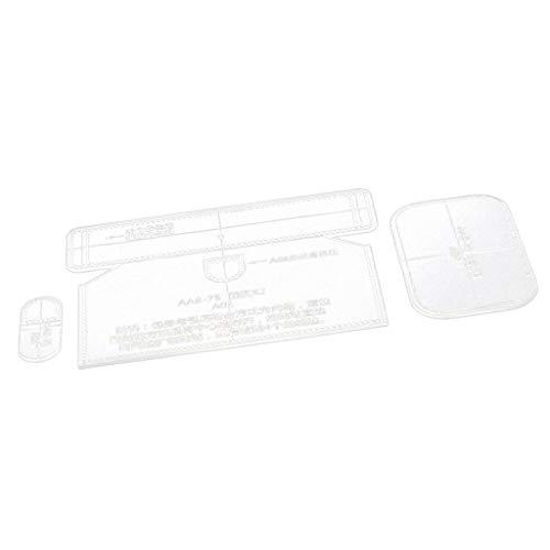 B baosity 3pieza de plástico acrílico transparente Plantilla Plantilla Cartera Monedero Bolsa DIY piel artesanía
