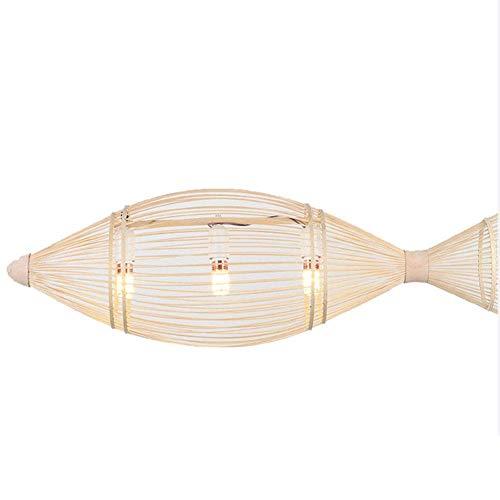 WEM Lámpara colgante de linterna de bambú, dormitorio de bambú retro, tejido de comedor, luz colgante, accesorios de lámpara de techo, para sala de estar, bar, cafetería, club