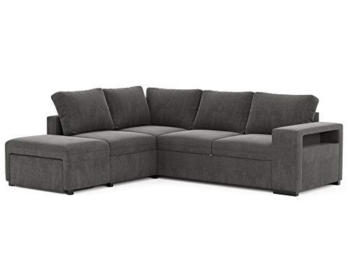 Confort24 tweezits hoekbank in L-vorm, omkeerbaar, 4-zits, ligbank, rechts of links, met zitzak, 2 kisten en plank, woonkamer, decoratie huis