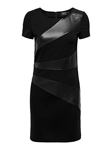 ONLY Damen ONLMALENE Faux Leather Mix Dress OTW Kleid, Black, 38