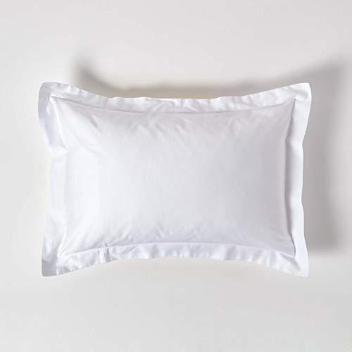 HOMESCAPES Funda de Almohada Oxford con Volantes 100% algodón Egipcio 400 Hilos 50 x 75 cm