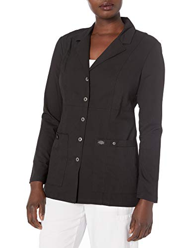 Dickies Women's Xtreme Stretch 28 Inch Snap Front Lab Coat, Black, Medium