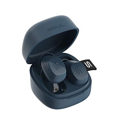 New Soul S-Nano True Wireless Earbuds - in Ear Headphones, Ultra Portable, Bluetooth, IPX5 Waterproof, Transparency Mode - Blue