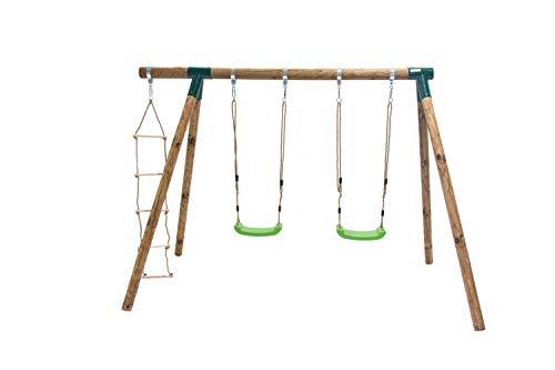 MASGAMES Columpio de Madera KADI Deluxe con Dos Asientos de plastico con Cuerdas y Escalera de Cuerda