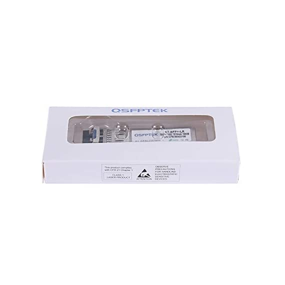 QSFPTEK SFP Module 6 Compatible for Ubiquiti UF-MM-10G, other Open Switch. Widely used in fiber switches, routers, NIC, server or other fiber optic equipments with 10Gb SFP+ ports,such as: Ubiquiti EdgeSwitch 48 750W. 10GBASE-SR SFP+ module: 10Gb/s data rate, Multimode, duplex LC connector, 850nm wavelength, the transmission distance up to 300m, DDM support, working temperature: 0℃ ~ +70℃. Tx Power(dBm): -6.5 ~ -0.5, Rx Sens.(dBm): < -11.1. Easy to use & Support DDM: Plug and play, hot-pluggable. Rotate the ring latch down at 90 degree angle to unlock, then pulling transceiver out from switch. DDM support: DDM allows you to monitor the critical information, to find out some potential problems.