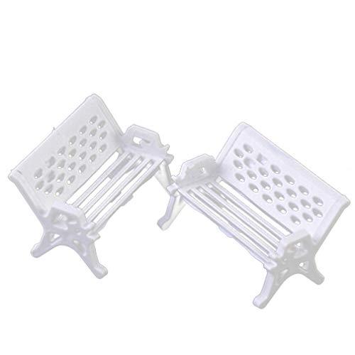 KaariFirefly Lot de 2 mini banc de jardin miniature pour décoration de jardin, Plastique, blanc, Taille M