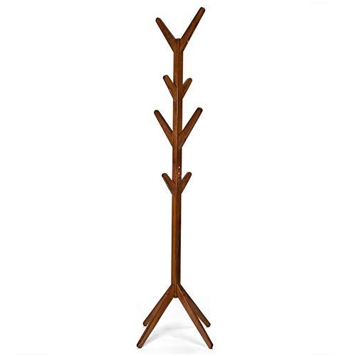 JIAYING porte-manteaux Porte-manteau Présentoir En Forme D'arbre En Bambou Sur Pied Avec 4 Rangées De 8 Crochets Et Pieds Solides Pour Vêtements, Foulards Et Chapeaux Multifonction