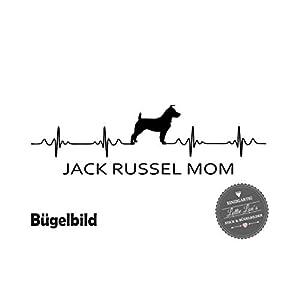 Bügelbild Hund JACK RUSSEL MOM Herzschlag in Flex, Glitzer, Flock, Effekt in Wunschgröße